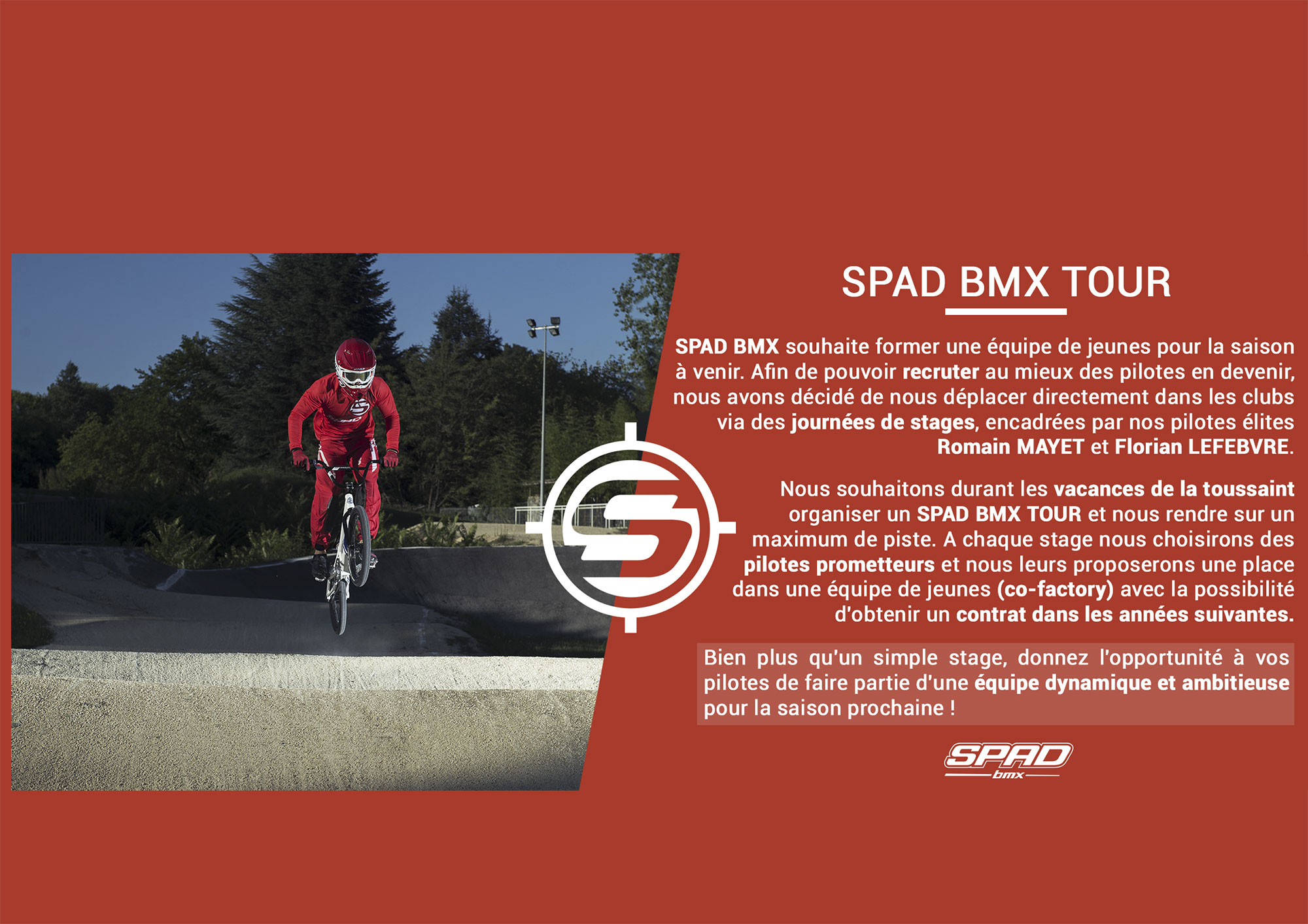 Des stages SPAD BMX pour devenir pilote Co-Factory
